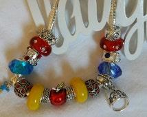 Snow white dress, Apple and Princess Crown charms bracelet, Pandora like