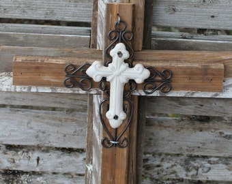 rustic cross, wall cross, cross wall decor, decorative cross, unique wall cross, rustic wood cross, metal cross, wall decor, reclaimed wood