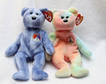 Vintage TY Beanie Babies Peace Bear Collectibles