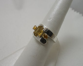 Sterling Silver Citrine Bypass Ring