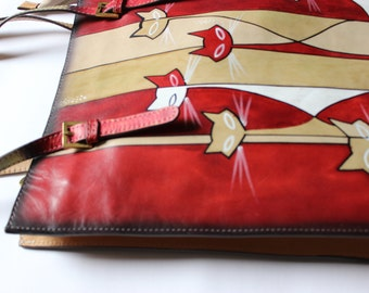 hand paint and hand made leather bag