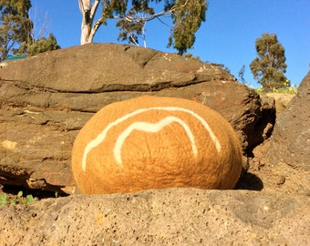 Colours of Australia - BROWN OCHRE~Felt Cat Cave~Felted Cat Bed~Pet Bed~Eco-Friendly~Merino Wool~Handmade~Cat House