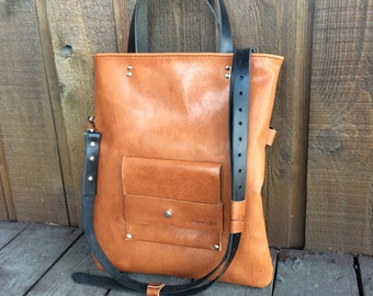 Leather tote messenger bag