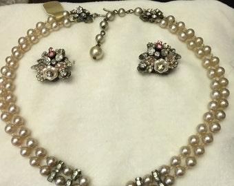 Vintage Floral Cluster Necklace & Earrings Demi Parure Set
