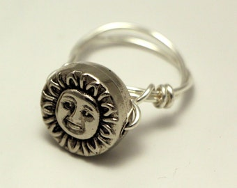 Silver Sun Wire Wrapped Ring