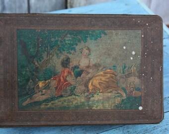 French Renaissance Image Vintage Decorative Tin/Lovers in Forest Vintage Tin/Gilded Vintage Tin/French Toile Tin/French Candy Tin/1900s Tin