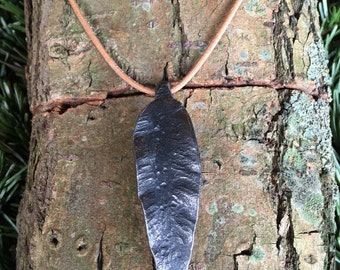 Large Hand Forged Iron Leaf Necklace Pendant