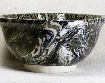 Large Marbleized Porcelain Bowl