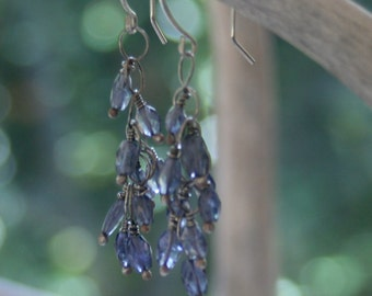 Iolite and Sterling Silver Cluster Earrings