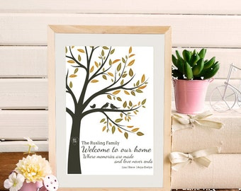 Welcome to our home - Family Tree personalised bespoke wall art A4 PRINT ONLY