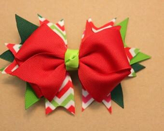 Christmas Poinsettia Chevron Hairbow