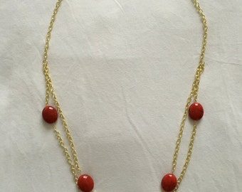 Double stranded necklace, 14""