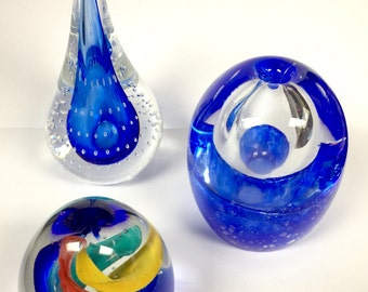 Three Gorgeous Retro Paperweights