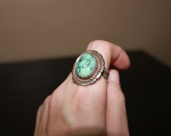 Vintage (Size 10) Sterling Silver Ring with Center Turquoise Stone