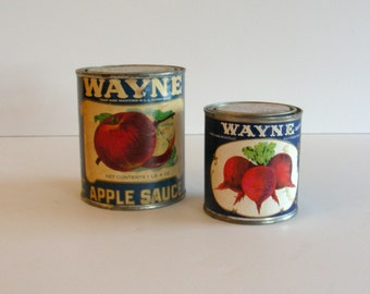 Pair of Cans with Authentic Vintage Food Labels