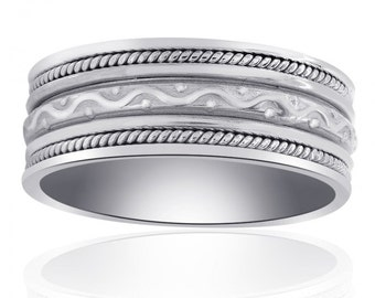 8.35mm 14K White Gold Comfort Fit Mens Band