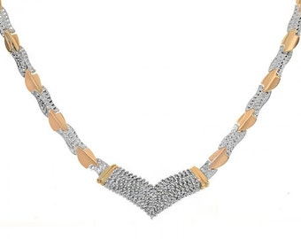 1.70 Carat And Diamond Cut V-shaped Necklace 14K Two Tone Gold