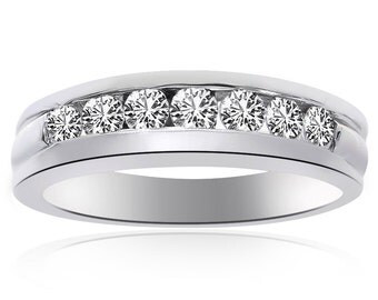 0.65 Carat Round Cut Diamond Womens Wedding Band 14K White Gold