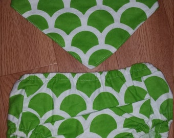 Green Scale Nappy Cover and Bandana Bib Set