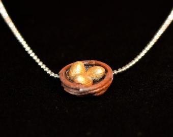 Nest Egg Necklace, Golden Eggs Necklace, Gold Eggs in a Nest Necklace