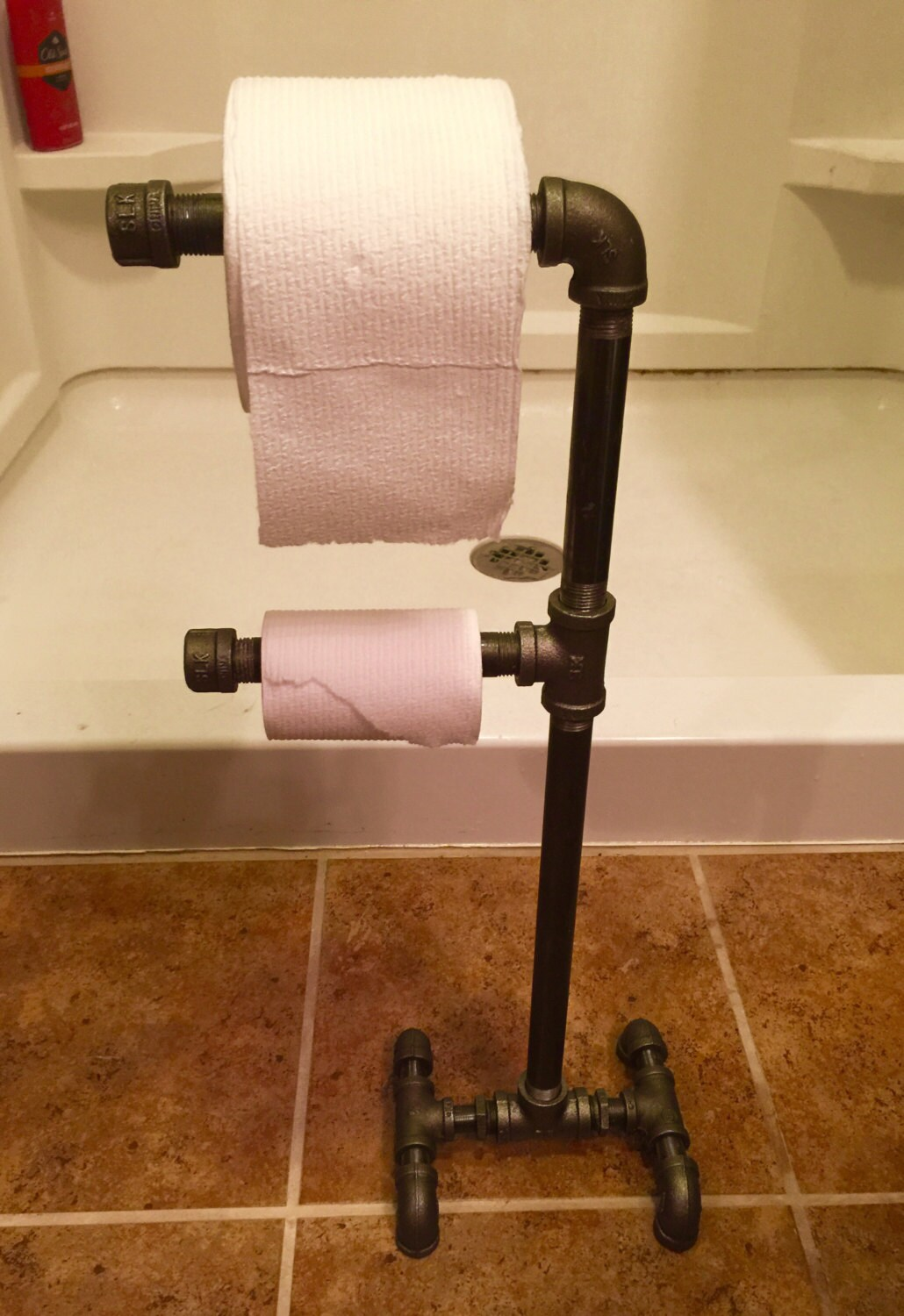 Industrial Black Iron Pipe Double Toilet Paper Holder Urban