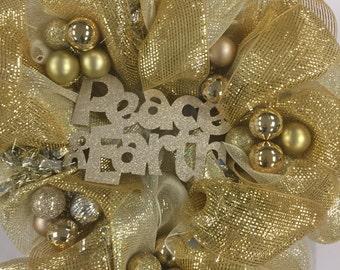Lord of All Wreath-Peace on Earth Wreath-Gold Wreath-Winter Wreath-Christmas Wreath-Metallic Wreath-Deco Mesh Wreath-Metallic Mesh Wreath