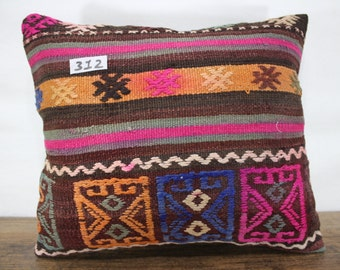 Hand made vintage kilim pillow cover 16x18 inches ,orange plaid Turkish kilim pillow,decorative kilim pillow,kilim cushion cover SP4040-312