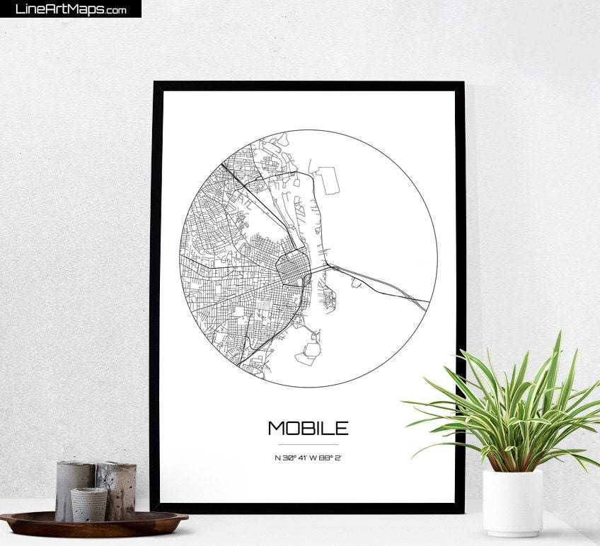 Mobile Map Print City Map Art Of Mobile Alabama Poster