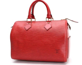 Authentic Louis Vuitton Speedy 25 in Red Epi Leather