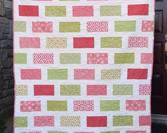 Modern Pink and Green Brick Lap Quilt