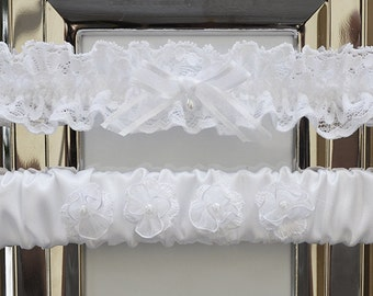 White Wedding Garter Set, Bridal Garter, Keepsake Garter, Wedding Garter, White Satin Garter