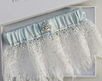 Wedding Garter, Bridal Garter, Keepsake Garter, Lace Wedding Garter, Vintage Garter, Blue Garter, Teal Garter, Ivory Lace Garter