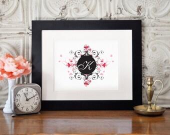 K Monogram Print, Initial Print, Black and Pink Monogram Art, Digital Download, Printable Art, Wall Decor, Wall Art, Instant Download
