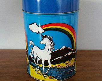 1970's Vintage Unicorn Rainbow Tin