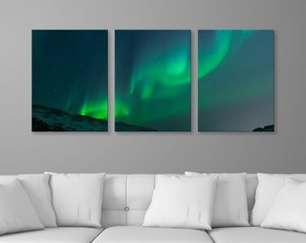 "Aurora Borealis Night Sky 2, 3-Panel Split Canvas Triptych Print, 1.5"" Deep Frame, Gallery Wrap, Hanging Canvas Home & Office Wall Art Decor"