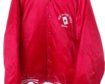 Vintage George Strait Red Satin Ace in The Hole Band Jacket Size Large L 42 44