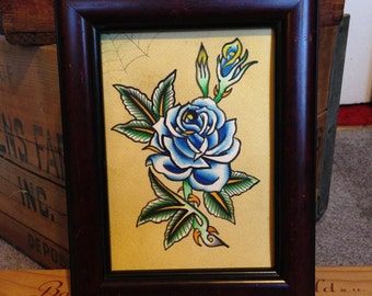 Traditional Tattoo Blue Rose with Spiderweb Original Painting