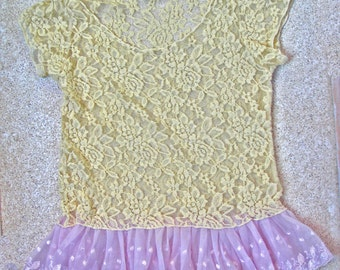 Retro Lace Shirt for over or under...aahhhhh, Size S,OOAK