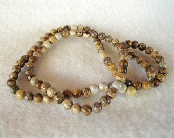 "15"" Strand of 4mm Natural and Naturally Beautiful Round Brown Jasper Beads"