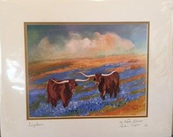 Longhorns Mounted Print