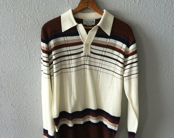 1970's Striped Men's Pullover Collared Sweater by Royal Knight
