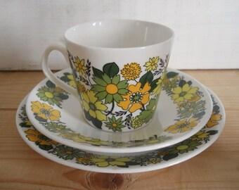 1960s Portobello Floral Design Trio by Elizabethan China No. 6 Colourway - Green & Yellow