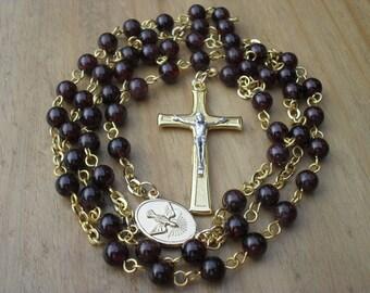 Garnet Rosary in Gold Finish, Catholic Rosary Beads, Rosary Beads. Handmade Rosary.