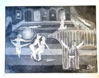 Last call. Original print by avshalom eitan. Depicting scenes from nyc in the 70's. 12x9 in. Etching, aquatint on paper.