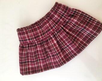 Burgundy wool blend skirt fits American girl dolls