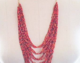 Red and Orange Six Layer Necklace