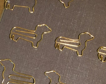Gold Shiny Dachshund Paperclips- Set of 2