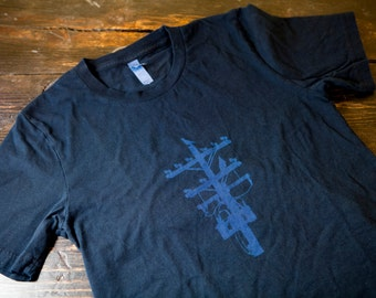 Black x Indigo Pigeon Tree Crafting Logo Tee Indigo T-shirt Indigo Tee Made in USA T-shirt