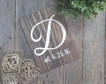Monogram Established Sign, Monogram Wedding Sign, Wedding Keepsake, Wedding Decor, Wedding Signs, Wedding Gift, Monogram Anniversary Gift