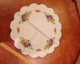 Hand sewn doily, multi-colored